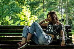 Anna Avtushenko (ivan_volchek) Tags: girl longboard bench summer park morning shine hairstyle street jeans sneakers shirt fighting leaves tree portrait arealongboard area longboards longy zebbie