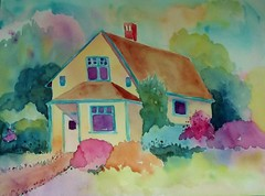 SUMMER COTTAGE (BonnieBuchananKingry) Tags: paintings watercolor watercolorpainting cottage colorful house home garden flowers farmhouse summer