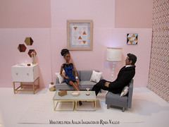 New art, table, and cabinet... (wpnschick) Tags: hollywoodregency hollywoodregencyminiature miniatureaccessories miniaturefurniture barbiefurniture barbieaccessories blythefurniture blytheaccessories modernminiature glam goldandwhite geometric miniatureglamluxe pastels cabinet bar glass miniatureart