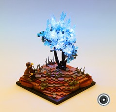 The Burning Bush - The Story of Moses (Mark of Falworth) Tags: lego bible moc story fire lit blue desert landscape collab