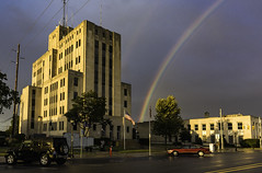 Bay County Building, Bay City Michigan, rainbow promises (TAC.Photography) Tags: tomclarkphotographycom tomclark tacphotography d7100 rainbow rain colors countybuilding baycity courthouse politics