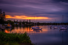 The sun sets over Yamba... (jenni 101 - off for a while) Tags: theluckycountry australia australiansunset nsw yamba boats colourful nikond7200 river sunset water yatchts yachts