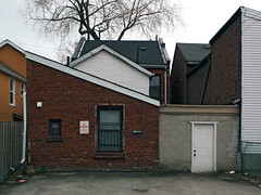 Brick Shed (geowelch) Tags: toronto downtown urbanfragments structure sheds angles lines buildings laneway fujifilmx10
