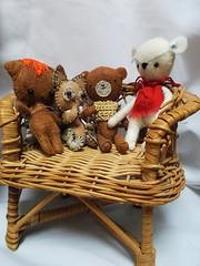 the toys Pompom , Edwin,Toffee  and Winston  Velvets new teddy (Belladona Blythe and Friends) Tags: handmade felt animals my desgin