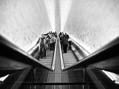 Upstairs, Downstairs (Georgie Pauwels) Tags: public streetphotography stairs geometry olympus candid people blackandwhite bnw escalator