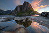Hamnøy, Norway (ruminate) Tags: 2016 lofoten lofotenislands mountains nikon nikond90 norge norway scandanavia travel hiking outdoors hamnøy eliassenrorbuer rorbuer reine reinefjord reflection mirror ocean seascape mountain fjord fishermancabin sunset