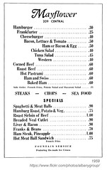 1959 mayflower menu (albany group archive) Tags: albany ny history 1959 mayflower menu central avenue old vintage photos picture photo photograph historic historical