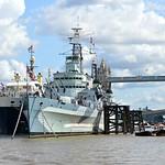 HMS Belfast & THV Galatea @ Tower Bridge London. thumbnail