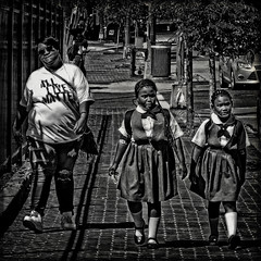 """""""Mother And The Girls Walking Home From School"""", Martin Luther King Jr. Avenue, Historic Anacostia, Washington, DC (Gerald L. Campbell) Tags: streetphotography street squareformat spirituality socialdocumentary bw blackwhite citylife community dc digital freedom historicanacostia martinlutherkingjravenue kids washingtondc yeswecan youth yearning canonsx60hs"""