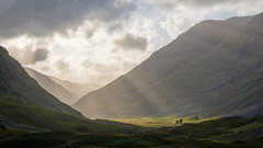 Glen Coe Sunset (GeraldGrote) Tags: godray scotland sunset glencoe sky valley tree lightshaft mountain clouds unitedkingdom gb