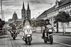 0585 Ladies First (Hrvoje Simich - gaZZda) Tags: city street road blackwhite monochrome lady motorcycle djakovo croatia nikon nikond750 nikkor283003556 hrvojesimich gazzda