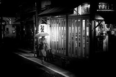August 08, 2017.jpg (pavelkhurlapov) Tags: restaurant shibuyaku streetphotography monochrome pinhole contrast light socks bags walkway umbrella woman