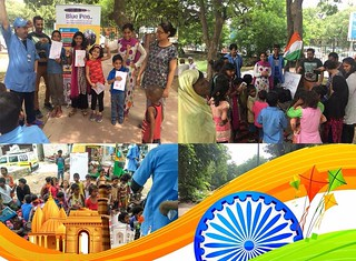 Team Blue Pen celebrating Independence Day at various Flyovers/Slums