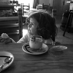 Special moment.. (Josephine T.) Tags: milk cake food lovely iphone love photography spain children glutenfree singluten blackeyes negro blanco niña bello portrait bn bw nogluten beauty canon moments pretty beautiful instant girl child