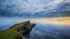 Neist Point Lighthouse (myca28) Tags: neist point scotland sunset isle skye lighthouse water land seaside clouds sun uk calm relax reflection blue beauty landscape nature good time canon