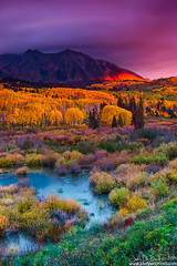 The Brilliance Of An Autumn Dawn (rosacruzjl) Tags: aspen colorado crestedbutte eastbeckwith fall keblerpass rockies rockymountains westelkmountain alpenglow autumn blanket city color colorful dawn dusk forest gold green light mountain orange peak pink place red sky sunlight sunrise sunset texture town tree twilight yellow