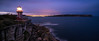 Hornby Lighthouse at Twilight Panorama (Orange Orb Photography) Tags: sydneyharbour rock sea bluehour ocean panorama hornbylighthouse headland twilight watsonsbay norahhead seascape sydney longexposure dusk clouds