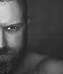 Behind Blue Eyes II  -  S e l f - P o r t r a i t (SaM FaST) Tags: self selfie blackandwhite bw selectivecolors portrait face nikon d7000 selectivecolor selfportrait eyes eye blue look me myself