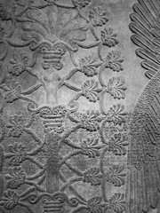 Assyrian Galleries-British Museum (Chris Draper) Tags: pattern monochrome blackandwhite assyria assyrian sculpture reliefs museum archaeology britishmuseum carved carving carvedpanel stone mythical mythology culture ancientculture