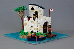 Island Outpost (soccersnyderi) Tags: pirates imperial outpost island water ocean sea coast rockwork tree palm whitewash texture bastion cannon window gun loop roof dock doors foliage