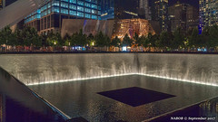 Manhattan, NY: 9/11 Memorial at the World Trade Center north tower reflecting pool (Lest We Forget!!!) (nabobswims) Tags: fountain hdr highdynamicrange lightroom manhattan memorial ny nabob nabobswims newyork night photomatix reflectingpool sel18105g sonya6000 us unitedstates wtc worldtradecenter 911memorial