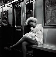 Dream, a little dream until sunbeam finds you (mkc609) Tags: street streetphotography bw blackandwhite blackwhite urban candid nyc newyork newyorkcity subway dream dreamer rolleiflex rolleiflex35f tlr mediumformat 120 6x6 square kodak film trix400