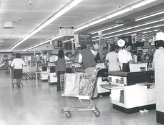 1972 photo shows interior of Smith's Food King (Brett Streutker) Tags: supermarket food store wall mart krogers ap woolworth foomark 1970 1980 1977 1963 1950 1967 kids mom mum shopping with dad nostalgia old days out business closed time muzak shop till you drop dollar tesco iga lion neighborhood school grandma grandpa cart 1970s 1960s 1950s vintage long lost summer job clerk cashier department coffee dairy cheakout lane monochrome