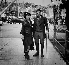 """Steampunk Meeting 2"" (giannipaoloziliani) Tags: raw costumi faces capturedmoments capturestreets genova genoacity steampunkstyle steampunkaccessories style monochrome monocromatico meeting biancoenero blackandwhite clothes steampunk streetphotography iphone iphonephotography italia"