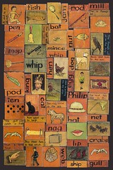 Learn to read collage (Justin Barrie Kelly) Tags: orange learntoread schooldays vintage folkart outsiderart teachingaid englishteaching reading edwardian typographic graphicdesign teaching
