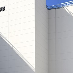 Urban Abstract No 56 (llawsonellis) Tags: shadows white blue urban abstract line lines linear patterns walls railing grill sky crop selection minimal minimalism abstraction lightandshadow city modern mundane diagonals geometry design