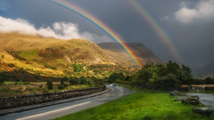 Somewhere ...over the rainbows xx (Einir Wyn Leigh) Tags: landscape rainbow weatherain valley nature beauty road vehicle scenery outdoors wales cymru clouds light green september