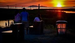 Double burner (Christie : Colour & Light Collection) Tags: sunset doubleburner richmond garrypointpark garbagecan sky mesmerized bc canada light sundown fraserriver