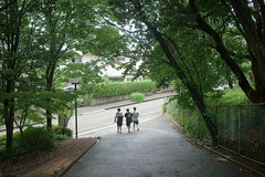 The young people's back (mokuu) Tags: slope 坂道 green 緑 woods 林