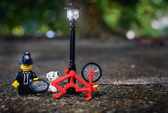 The Curious Incident of the Dog in the Park (minifigphoto) Tags: lego legophotography legoart miniatureart miniaturephoto minifigs cute kawaii minifigure legoaddict legoaddiction legolove legofun upclose macro toyphotography lovephotography geek toyphotographers bike park red dog policeman accident light lamp