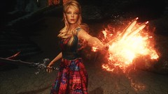 TESV - Floral and Flames ... (tend2it) Tags: kenb elder scrolls skyrim v rpg game pc ps3 xbox screenshot sweetfx enb spell fire flame sword floral dress krista demonica race sg lilith 161 felicia green eyes blond hair mods weapon summer