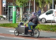 Box Bike (sander_sloots) Tags: boxbike box bike bakfiets man children baby bicycle fiets kinderen poptahof delft telefooncel phone booth van bestelbus maxicosy martinus nijhofflaan