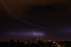 takeoff with lightnings (Gábor Timár) Tags: plane planetrail stacking stackedphoto takeoff lightning thunderstorm
