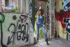 Urban Wildlife Part I (marylee.agnew) Tags: urban selfie decay graffiti city red hair woman outdoor boots tough