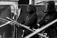 Nosey Neighbours (EyeOfTheLika) Tags: ifttt 500px street black white man london funny bnw life stranger fight sword perform musician performer martial arts style voyeur kendo artist lika