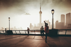 Shanghai (Patrick Foto ;)) Tags: architecture asia attraction beautiful building business central china chinese city cityscape cloudy dancing district downtown dusk evening exercise famous financial fog foggy highrise huangpu landmark lifestyle lujiazui male man metropolis modern morning nature office oriental pearl people pudong reflection river scene shanghai sky skyline skyscraper sword tourism tower travel urban view waterfront shanghaishi cn