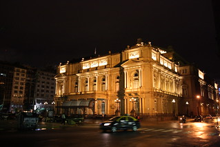 Teatro Colón at night in Buenos Aires, Argentina