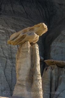 Hoodoo in the Dramatic Landscape of the Bisti Badlands
