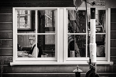 Switch (Alfred Grupstra) Tags: blackandwhite oldfashioned window old retrostyled outdoors urbanscene monochrome woodmaterial store architecture buildingexterior house antique street facade man railway