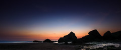 Silhoette Sunset, Bedruthan Steps (Mick Blakey) Tags: goldenhour sand sunset cornish rocky bedruthansteps shadows beach twilight silhoette goldenlight coastal sea rocks seascape red cornwall dusk coast