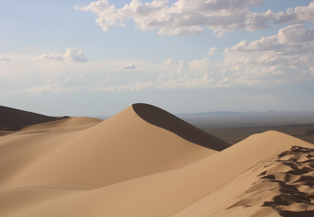 Top of Singing Sand Dunes in Gobi Deset