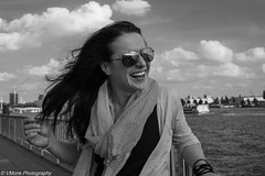 Annika Ditzer. Actress (vmonk65) Tags: nikond810 nikon hamburg hafen hafenhamburg portrait blackwhite blackandwhite harbour sunglasses wind