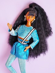 1994 Dance Moves Barbie Doll AA #13086 (The Barbie Room) Tags: 1994 1990s 90s dance moves moving movin dancing dancin barbie doll aa africanamerican christie blonde blond black pink blue