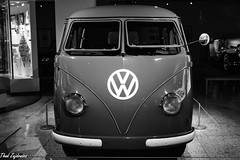 VW Camper Van (Thad Zajdowicz) Tags: canon eos 5dmarkiii 5d3 dslr digital ef50mmf12lusm 50mm primelens car monochrome vw volkswagen camper front blackandwhite bw black white logo symbol headlights windshield metal glass steel zajdowicz