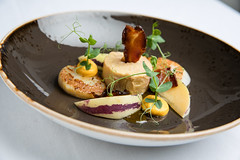 Pan fried scallops and duck liver rouleaux