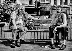 Must be wash day (phil anker) Tags: people street mono bench salisbury fujix70 eyecontact